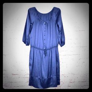 BCBGMAXAZRI VERY Oversized Silk Navy Peasant Dress
